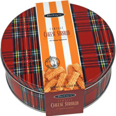 Red Plaid Classic Cheese Straws Gift Tin
