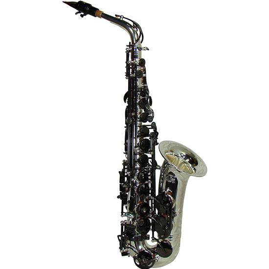 """LA Sax BIG LIP """"X"""" Alto Saxophone - Silver w/ Black Keys"""