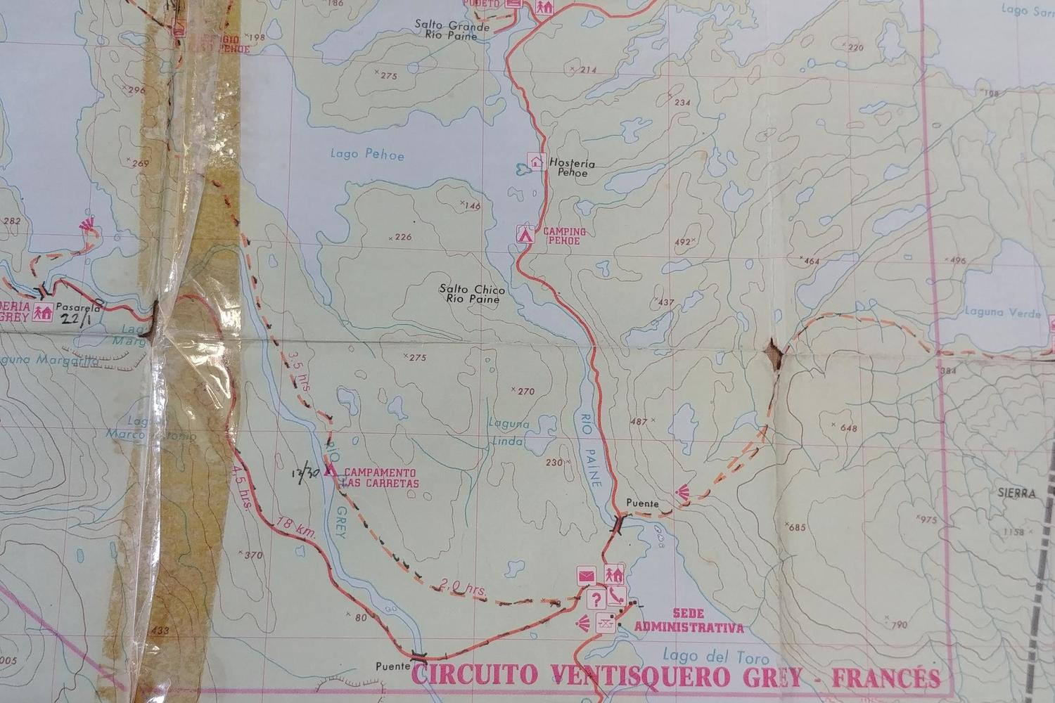 The gaffer-taped remains of my 1995 Torres del Paine map