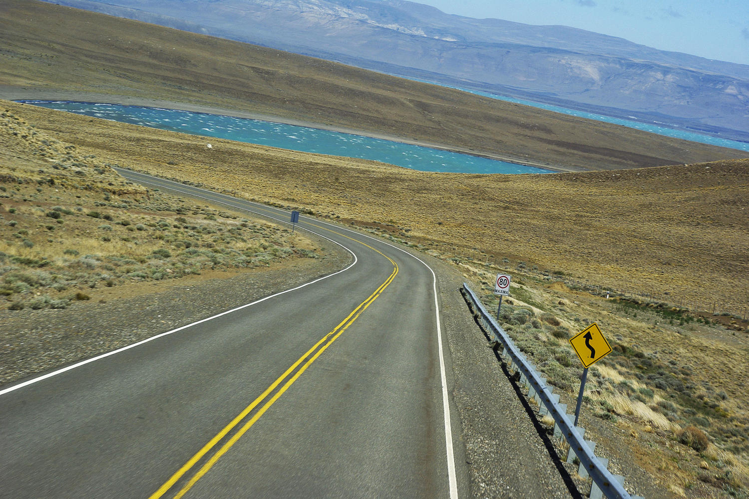 Driving around lagoons between El Calafate and El Chalten