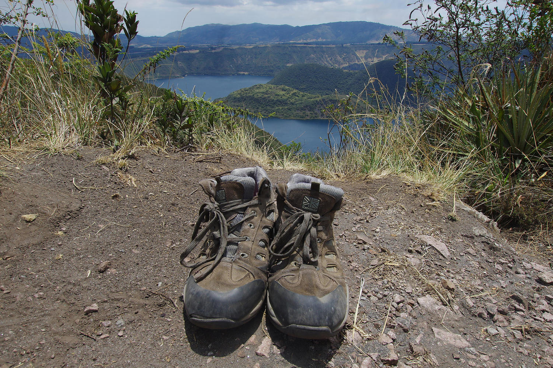 Walking boots at Laguna de Cuicocha