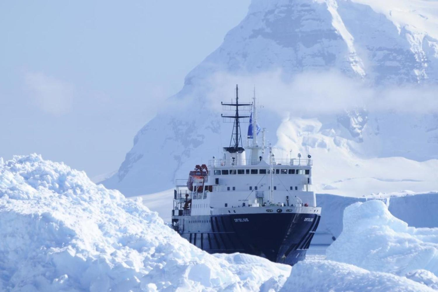 Ortelius ship in Antarctica