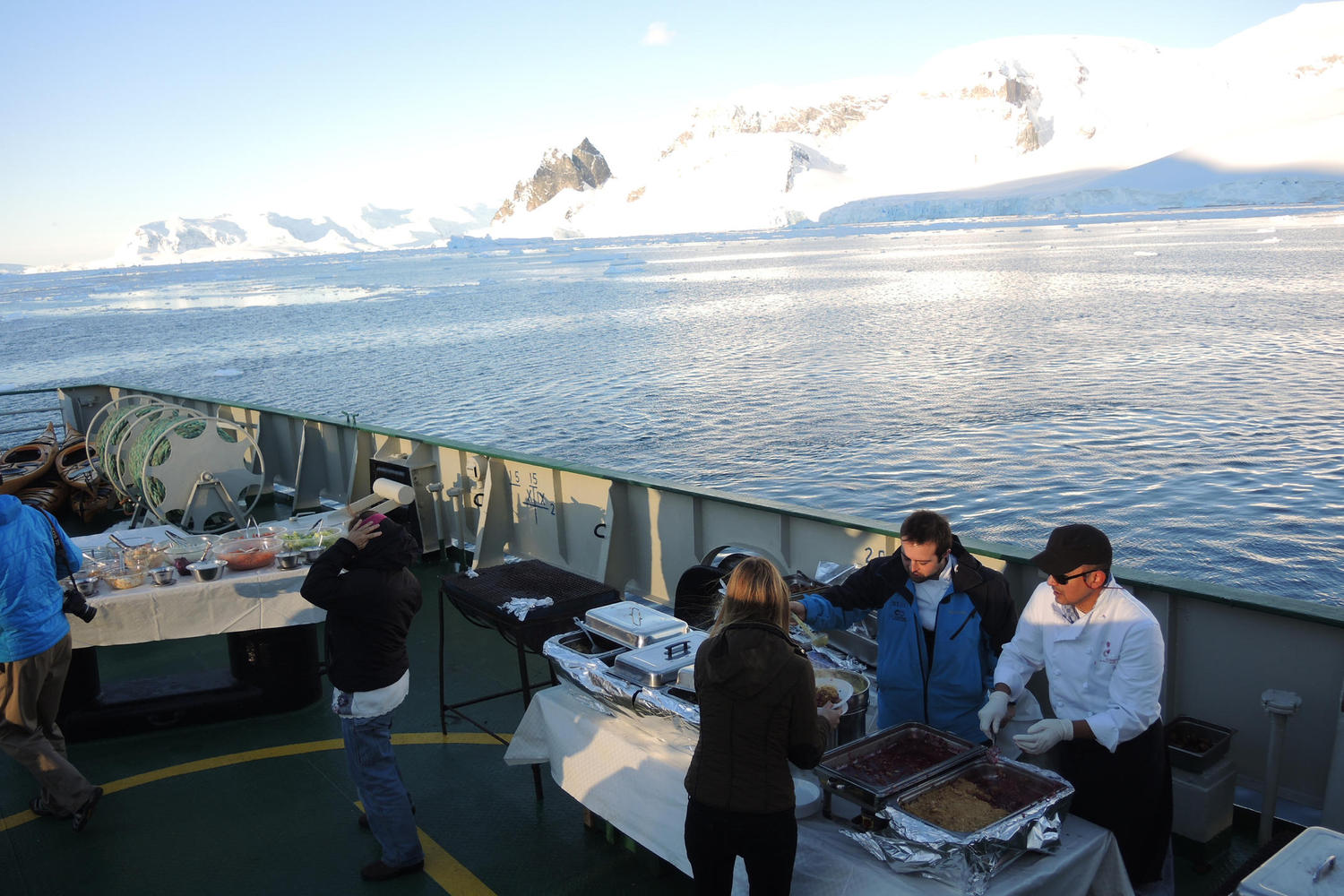 Barbecue on deck in Antarctica
