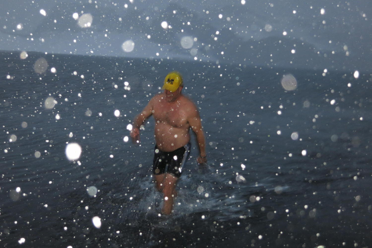 A brave soul emerges from the fabled polar plunge