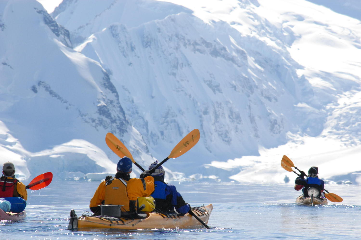 Kayaking on a beautiful day in Antarctica