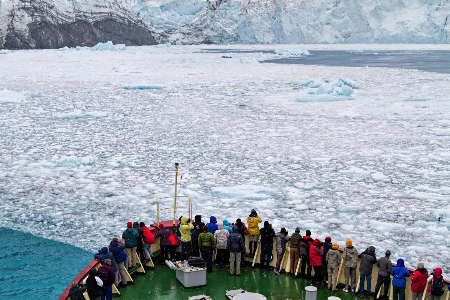 Expedition ship in Drygalski fjiord of South Georgia