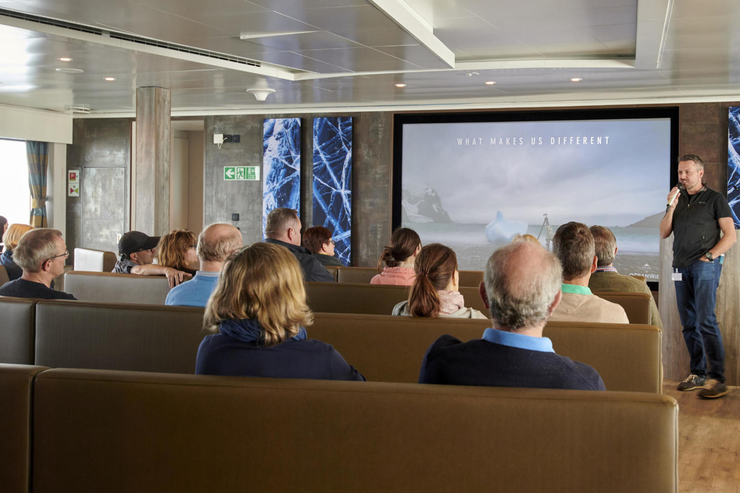 Lecture theatre aboard the M/V Hondius