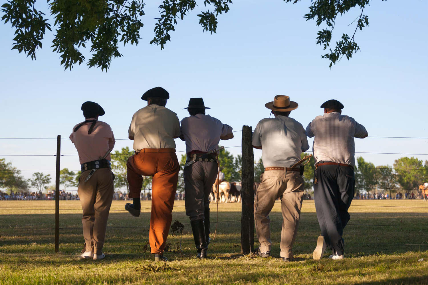 Five Gauchos in San Antonio de Areco during Argentina Day of Tradition