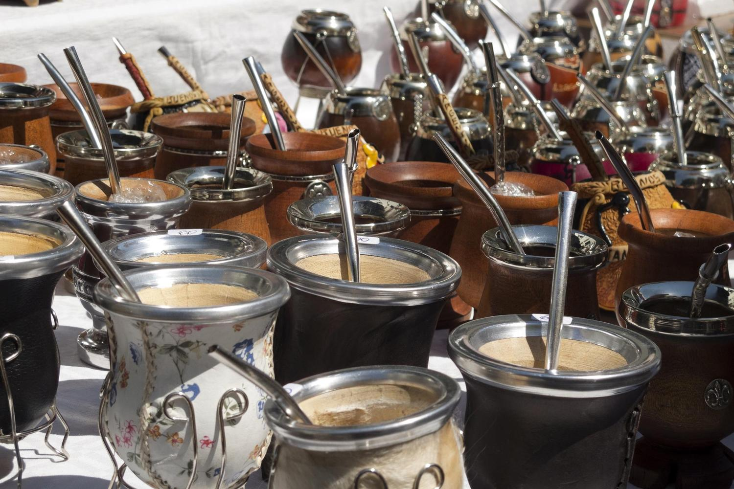 Mate cups for sale at a street market in Buenos Aires