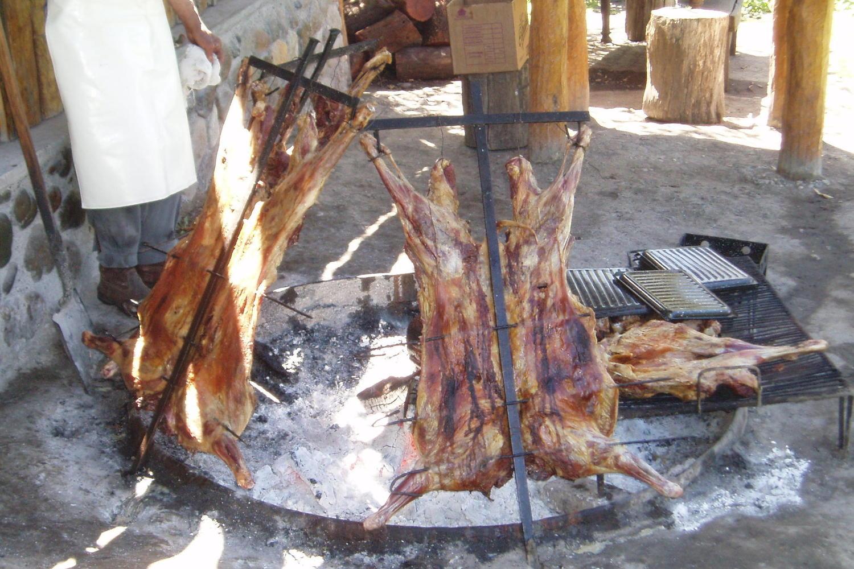 Lamb asado barbecue in El Calafate, Patagonia