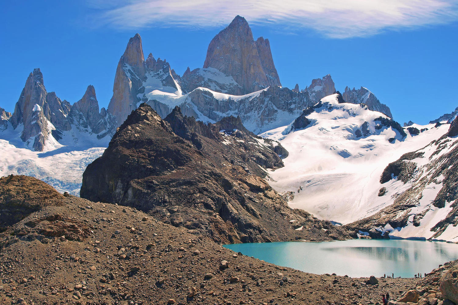 The Laguna de los Tres and Fitzroy mountain, Patagonia