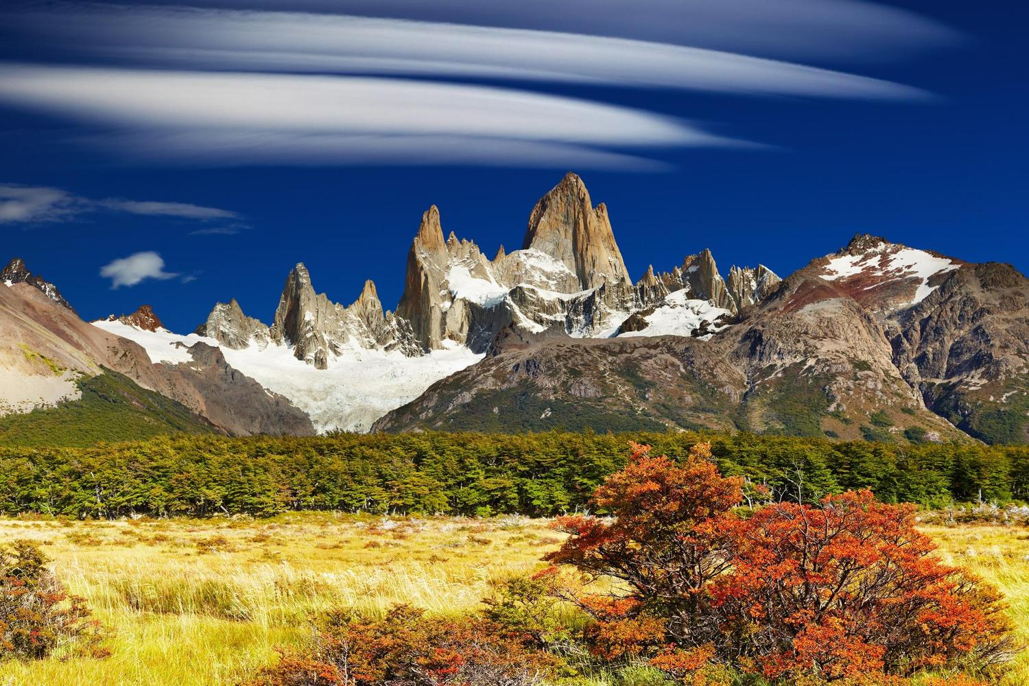 High winds create beautiful cloud formations over Fitzroy, Argentina