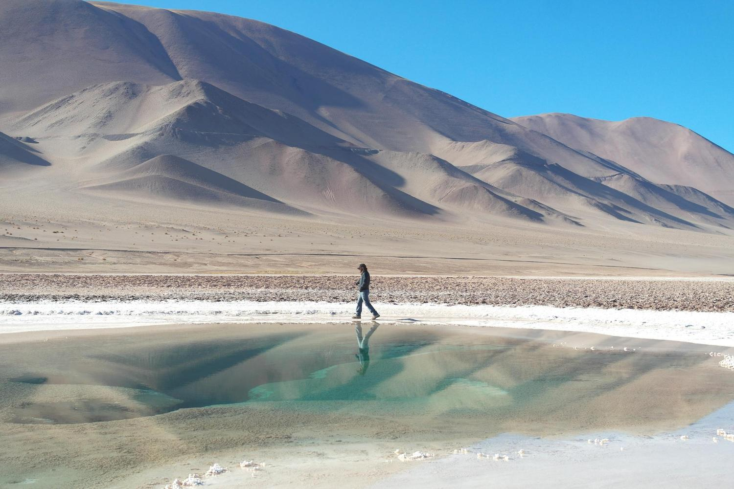 Walking around the water holes of Ojos del Mar in Argentina's Puna