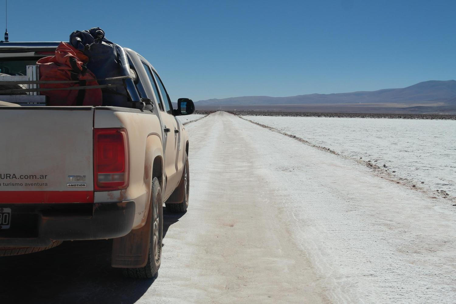 Crossing Argentina's Salar Grande by jeep