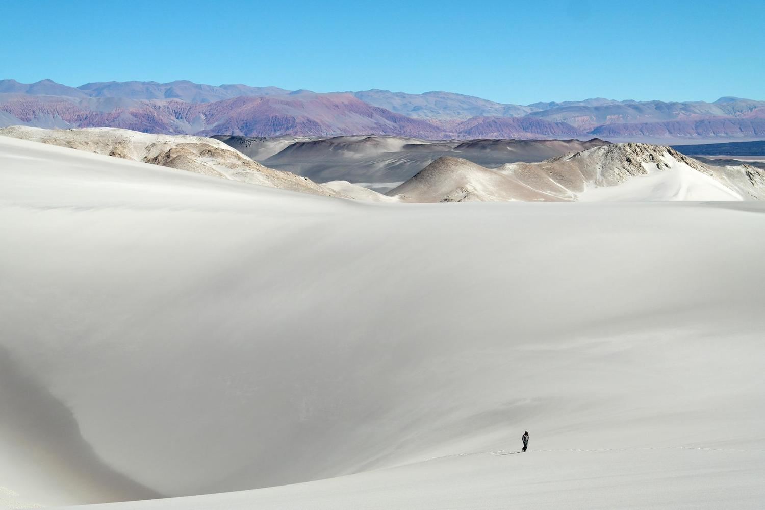 Walking across the sand dunes of the Puna, in the north west of Argentina