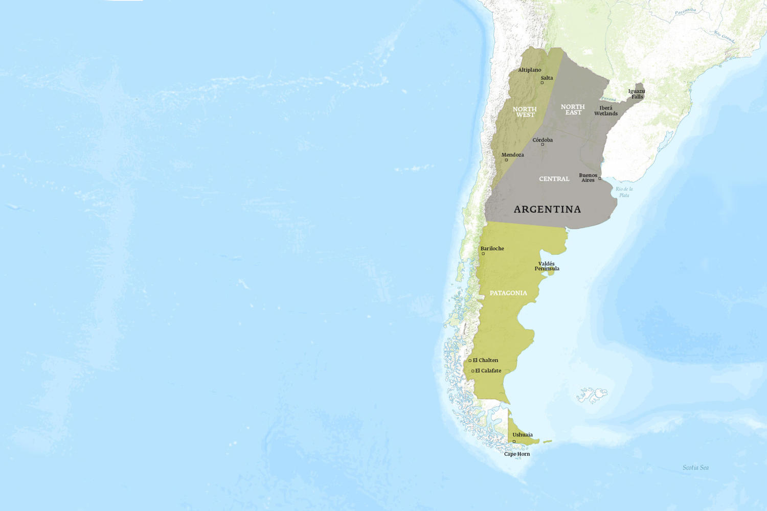 Argentina When to Go Map - February