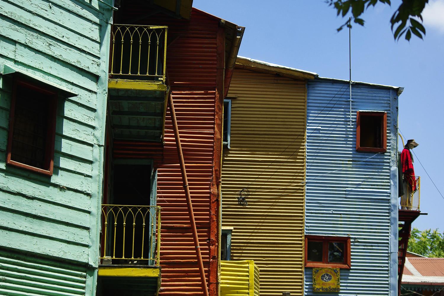 Colourful Genovese houses of La Boca in Buenos Aires