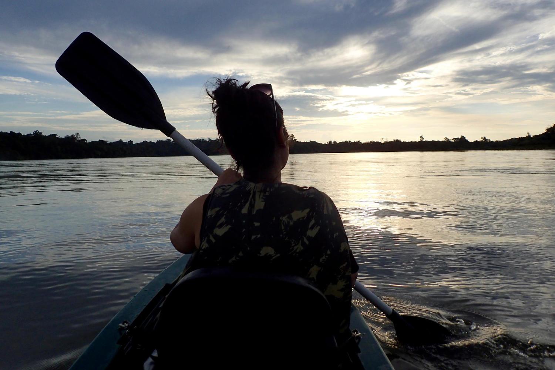 Sunset kayak in the Cristalino Reserve, Amazon