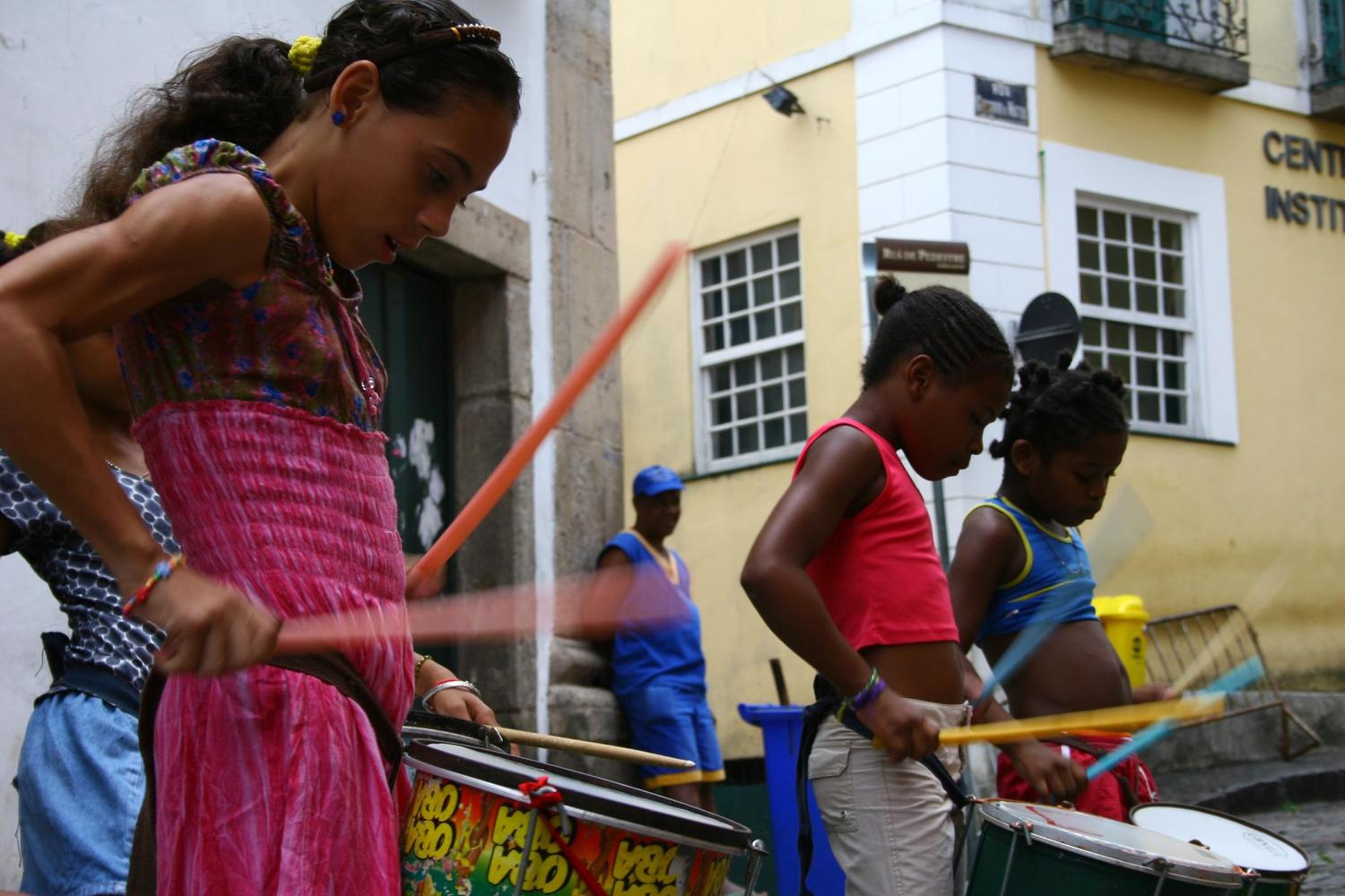 Samba drumming practice in the streets of Salvador's old town