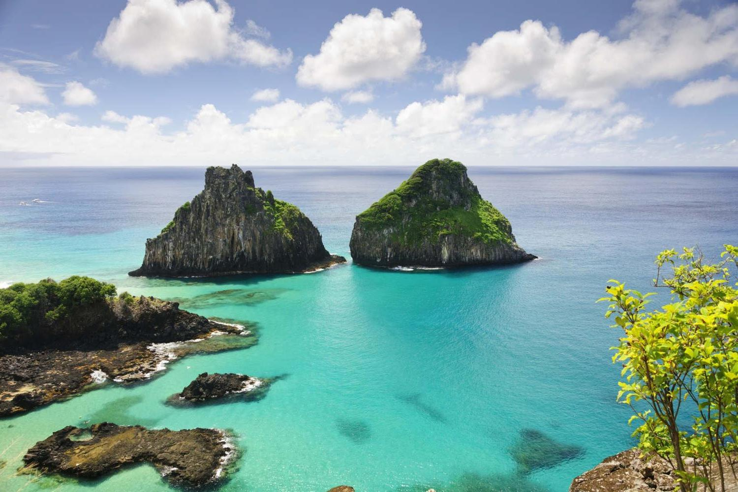 Stunning view of the Two Brothers Rock at Fernando de Noronha