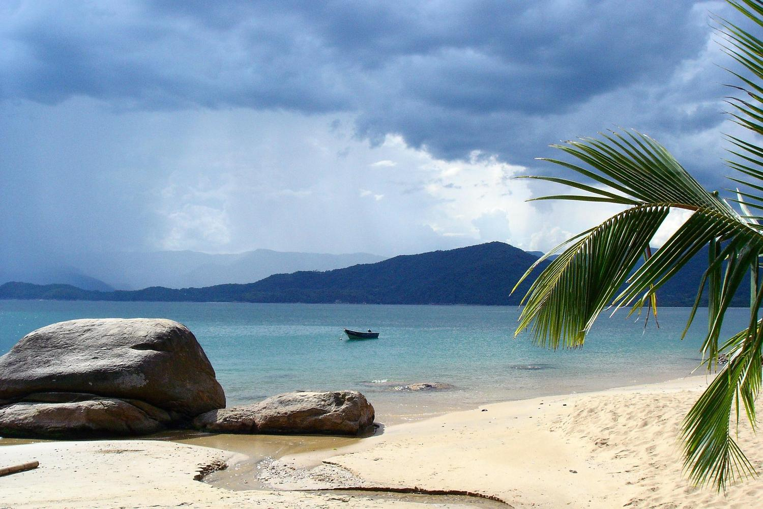 The peaceful beaches of Paraty bay in Brazil