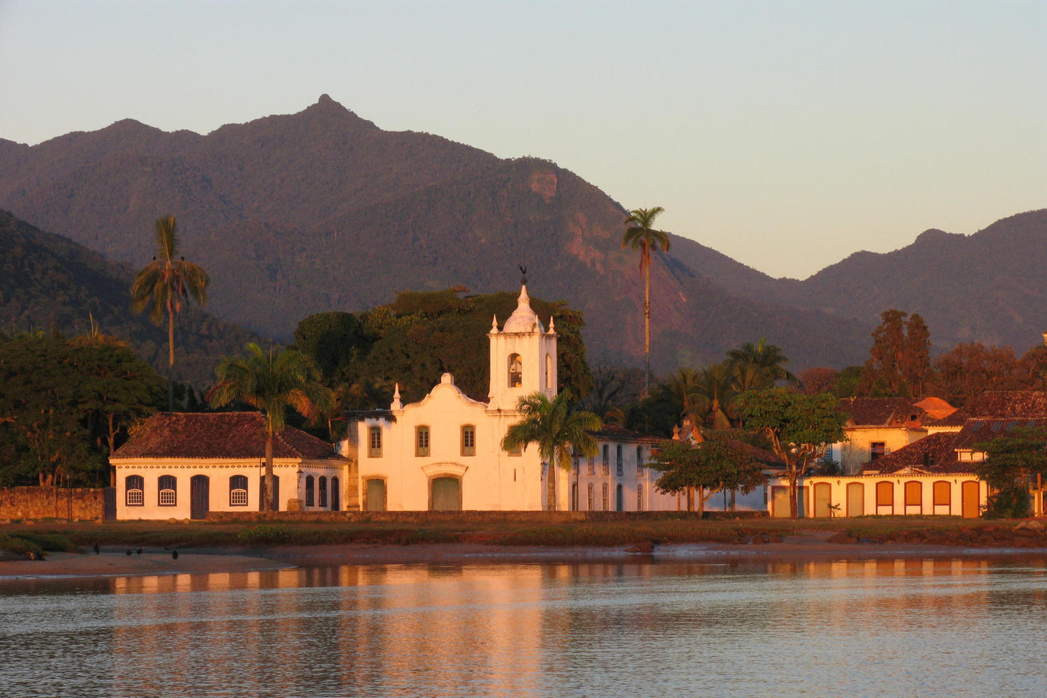 Sun setting on the colonial hear of Paraty, Brazil
