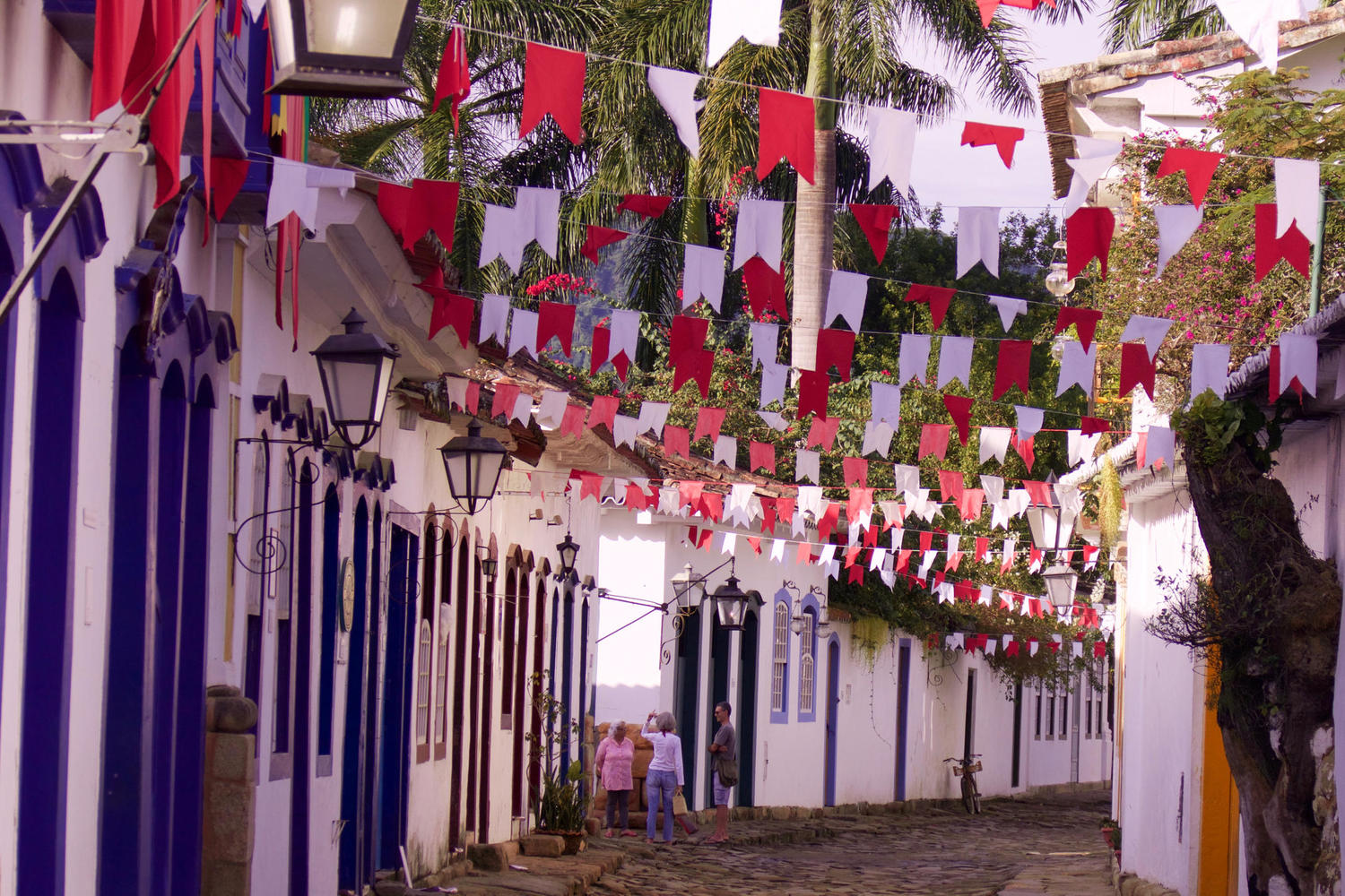 Street with bunting in Paraty