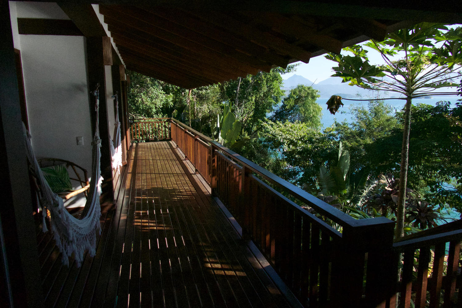 The deck of Casa Cairucu, near Paraty