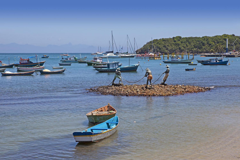 Statue of fishermen in Buzios, Brazil