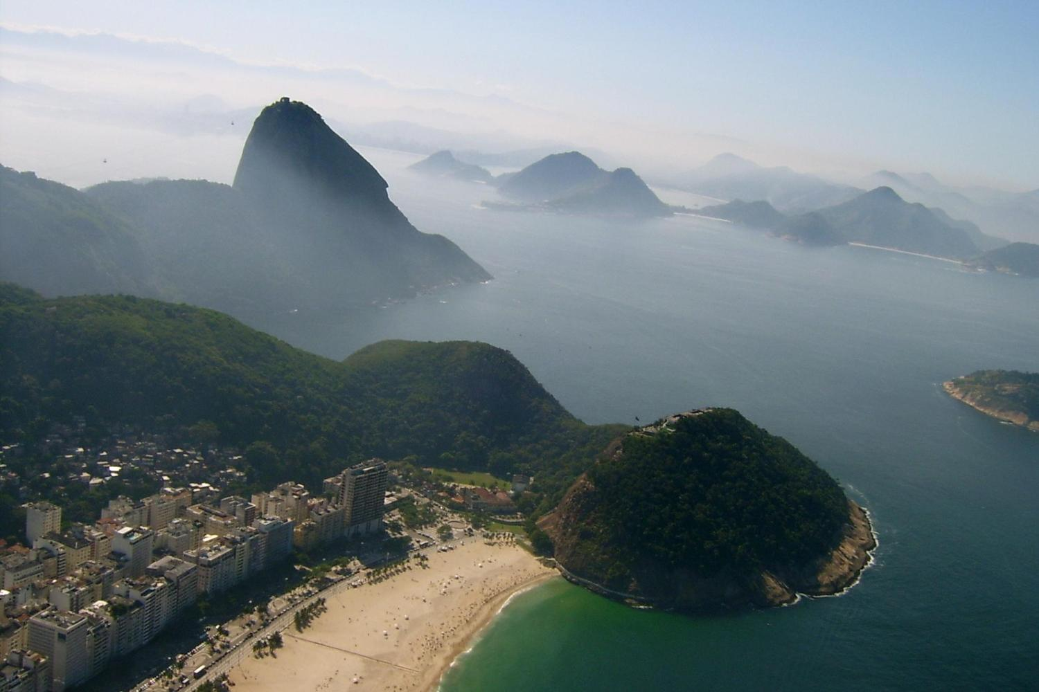 Aerial view of Copacabana beach and sugarloaf mountain beyond