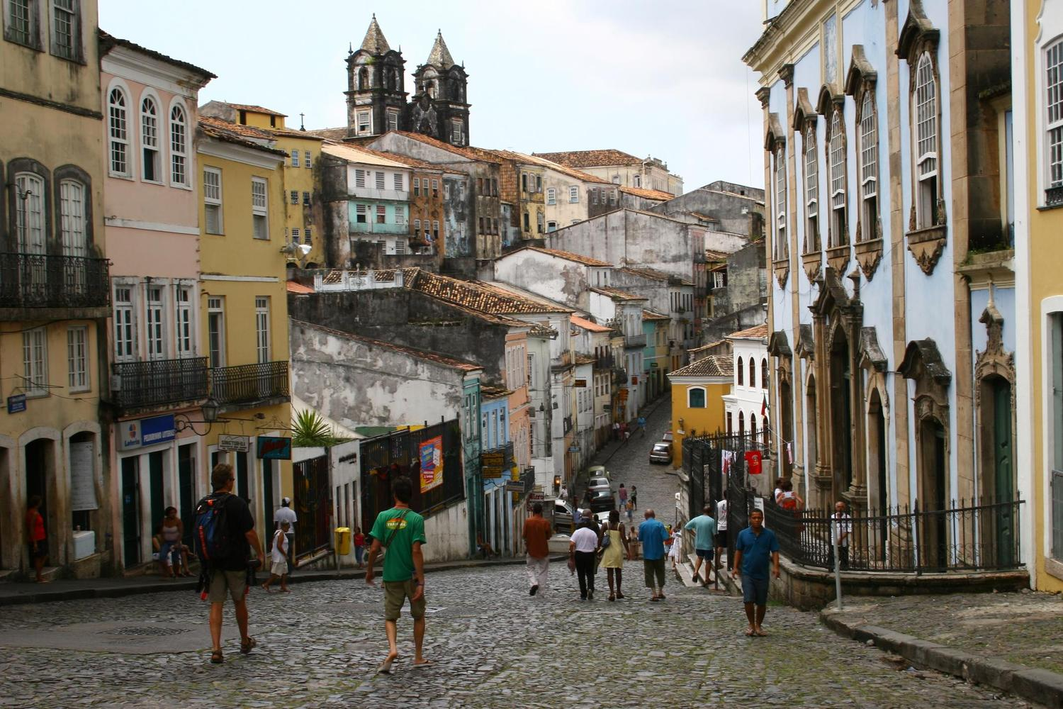 The cobbled streets of Salvador's colonial centre
