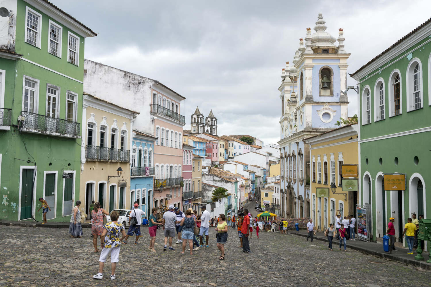 Busy plaza in the historic district of Pelourinho