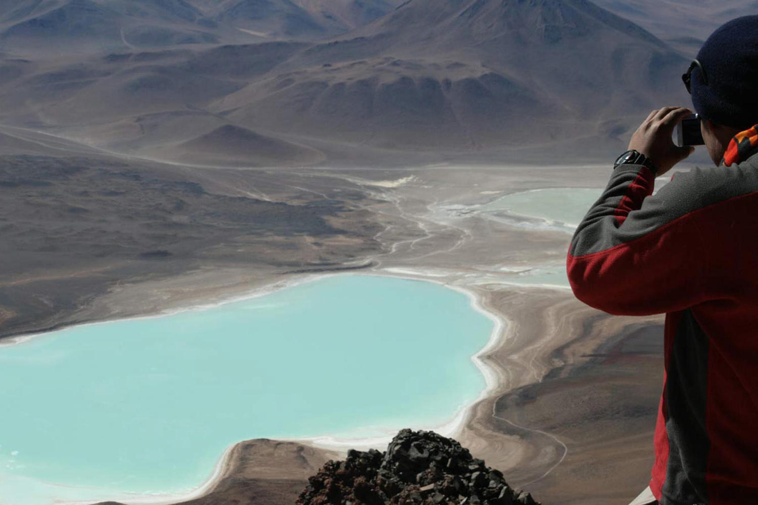 Looking out from the peak of Toco Volcano in the Atacama