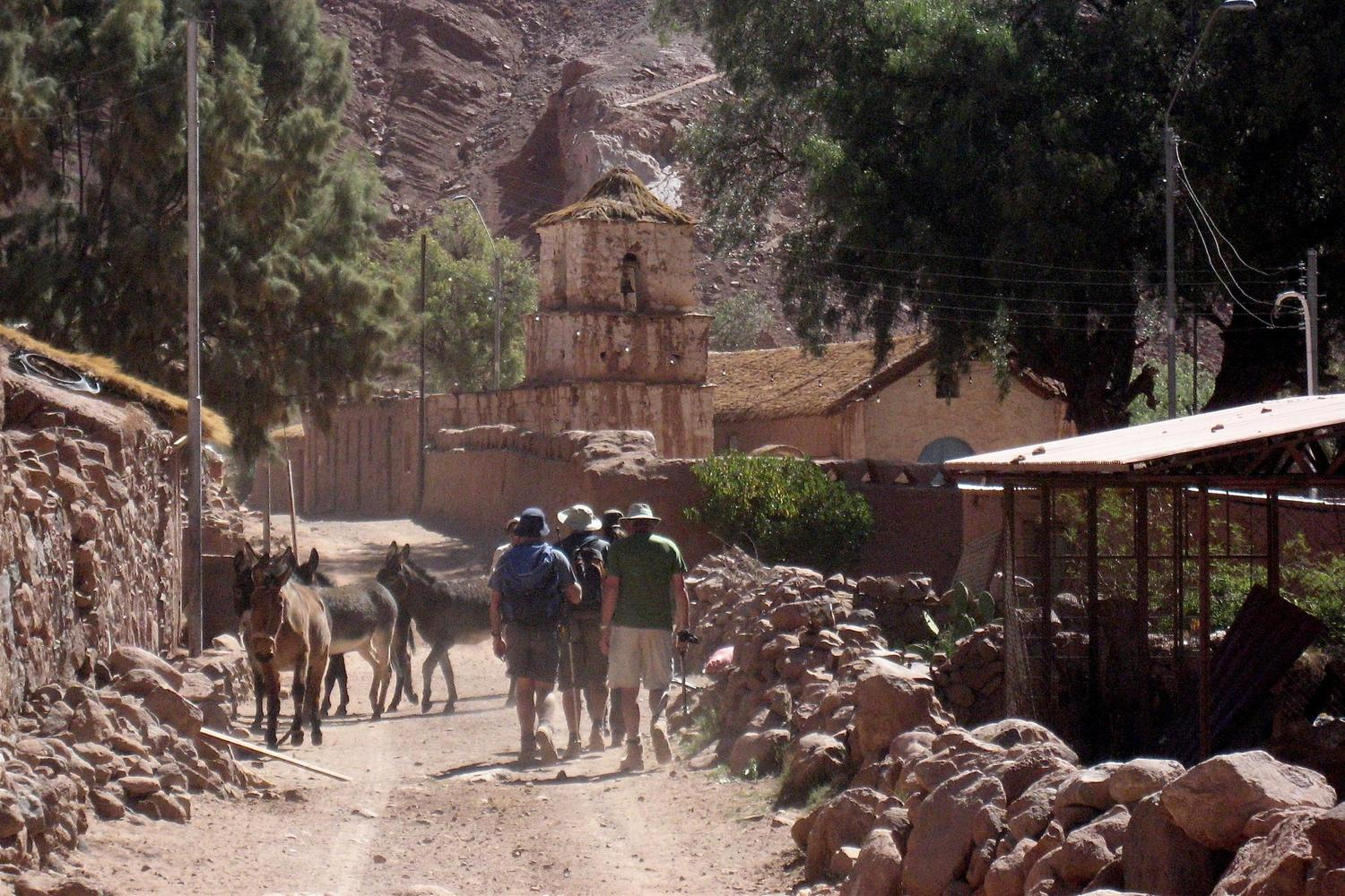 Walking into Rio Grande in the Atacama Desert