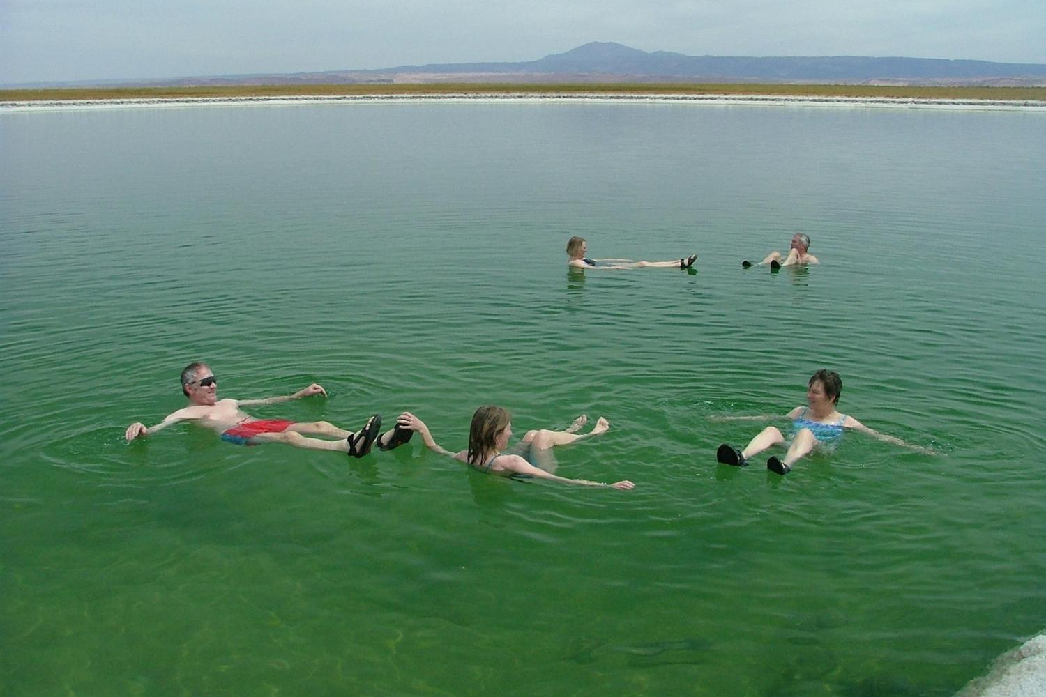 Enjoying a buoyant float in the salt lagoons of the Atacama Desert