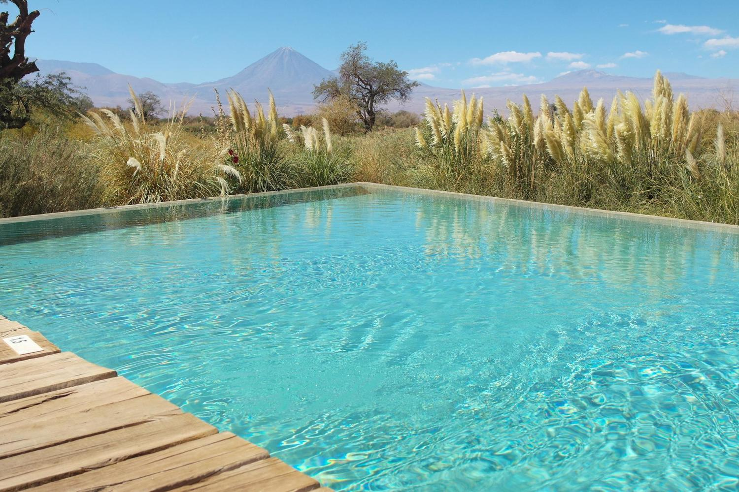The pool area of the Tierra Atacama Lodge