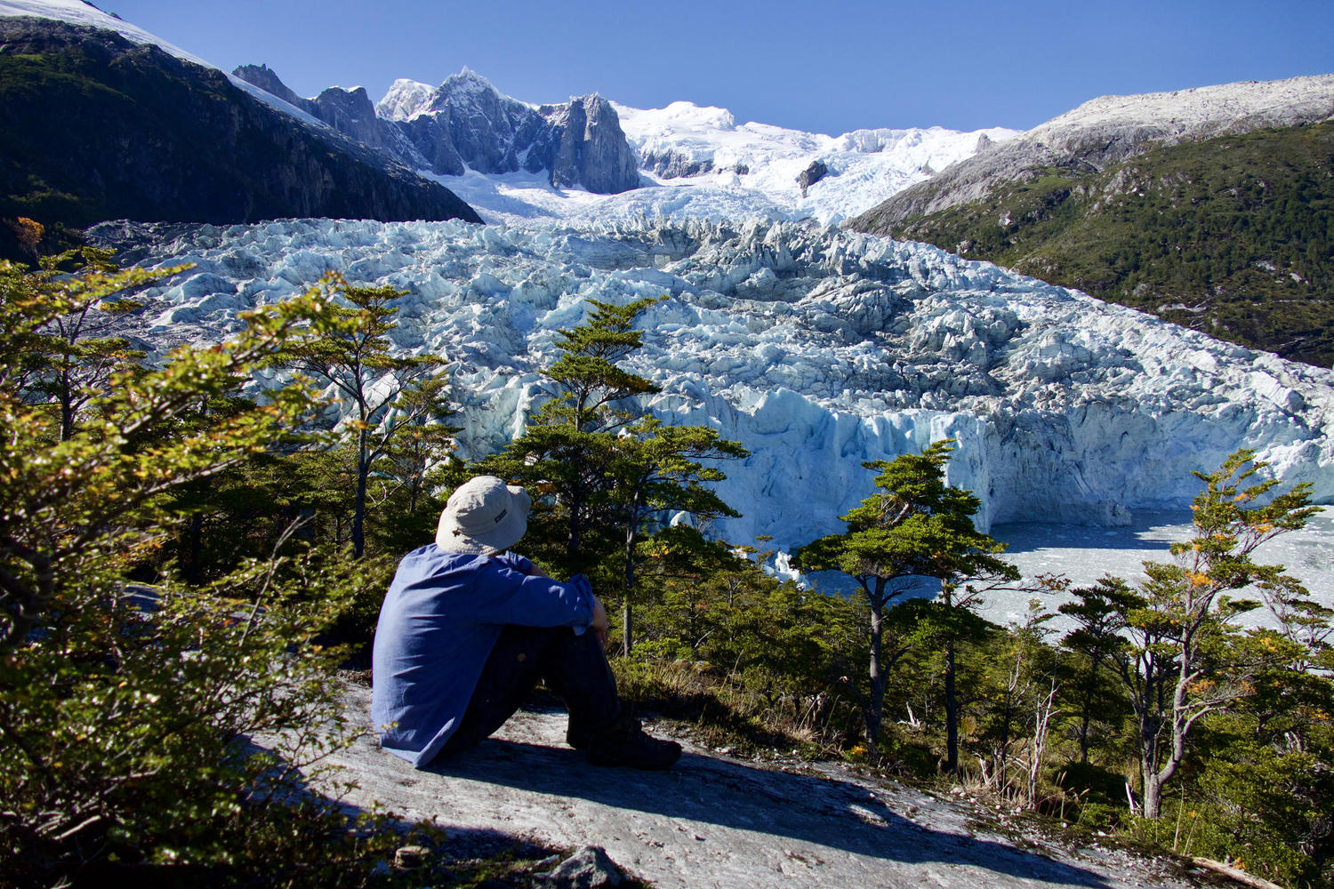 Solo man looking out over Pia Glacier