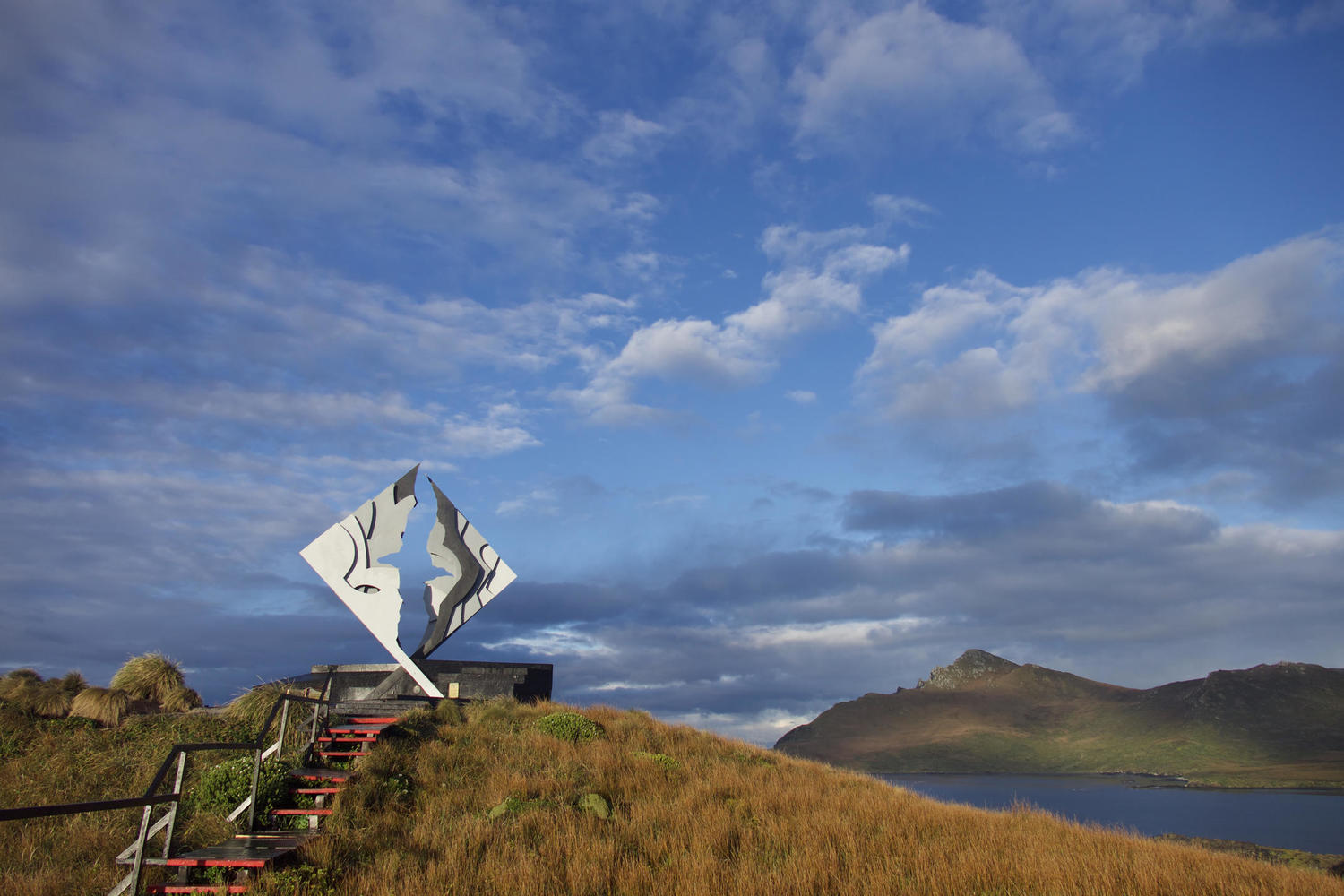 The monument at Cape Horn in the early morning light