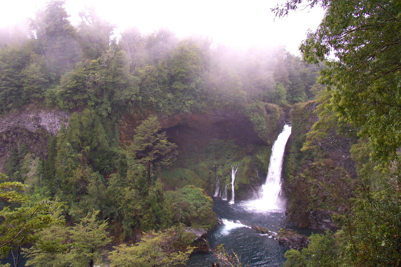 The stunning waterfall of Huilo Huilo