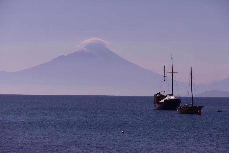 Boats sailing on Lake Llanquihue near Puerto Varas