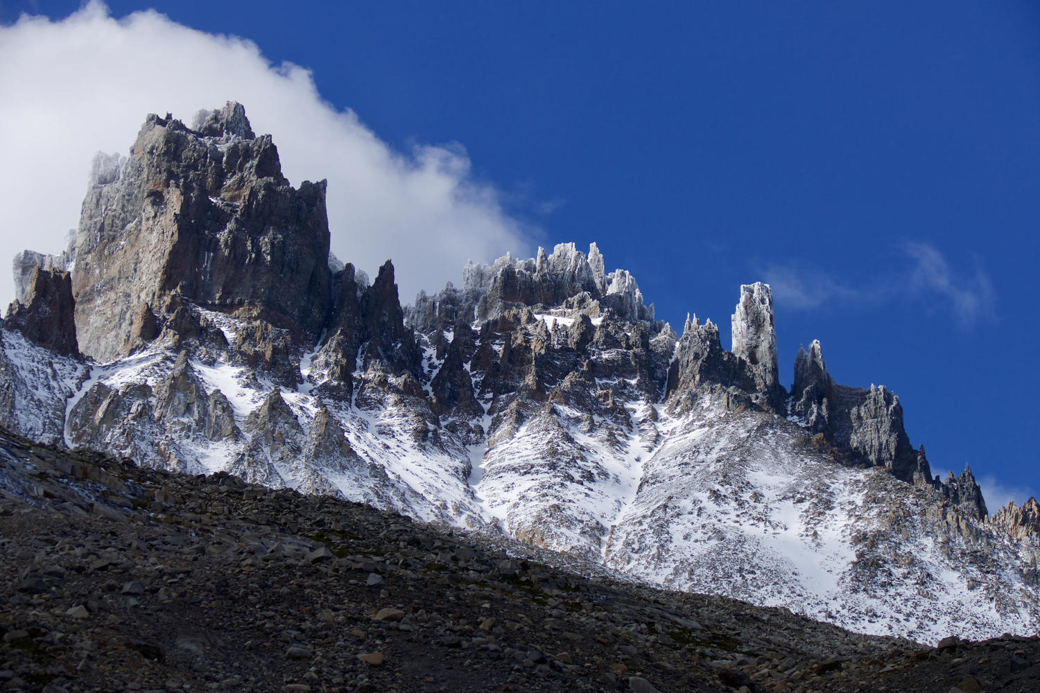 Windy conditions in the high peaks of the Cerro Castillo National Park