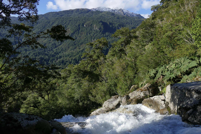 The Vida Salvaje waterfall above Posada Queulat