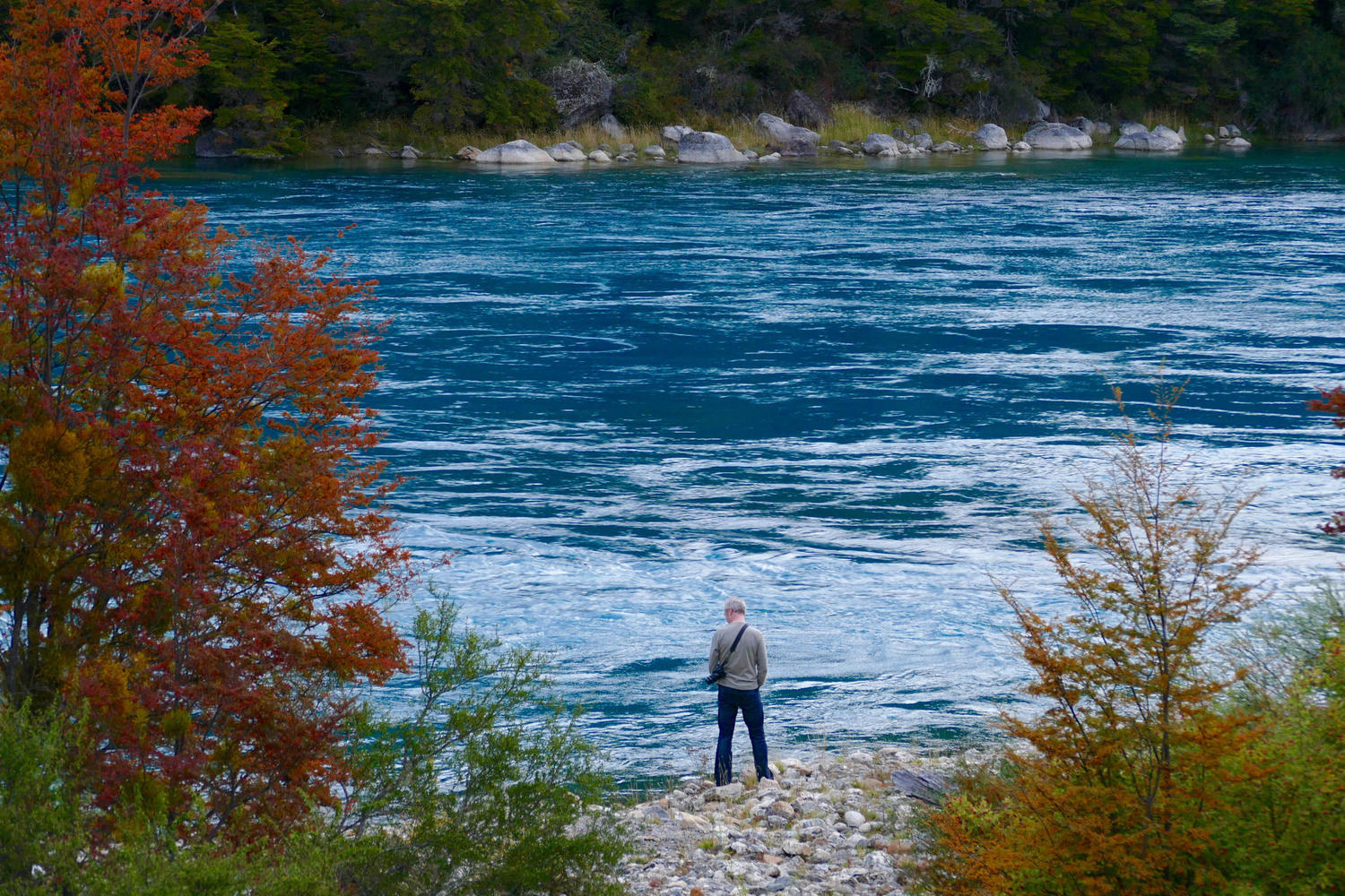 The vibrant blue waters of the Rio Baker in Chilean Patagonia