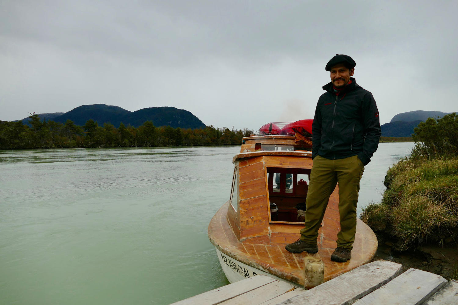 Captain on the shores of the Baker River in Chilean Patagonia