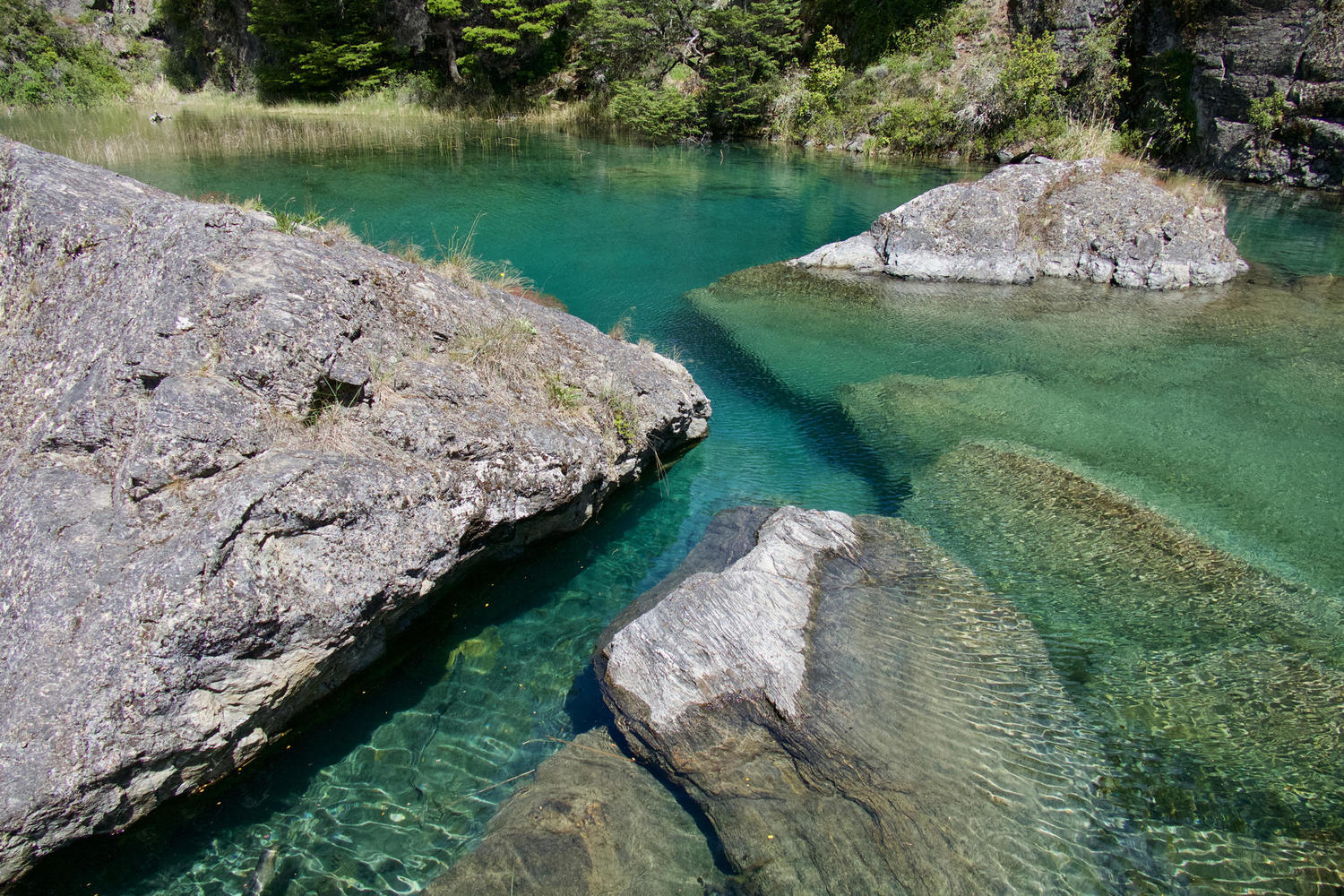 Beautifully clear waters of the Cochrane River inside the Tamango Reserve, Carretera Austral