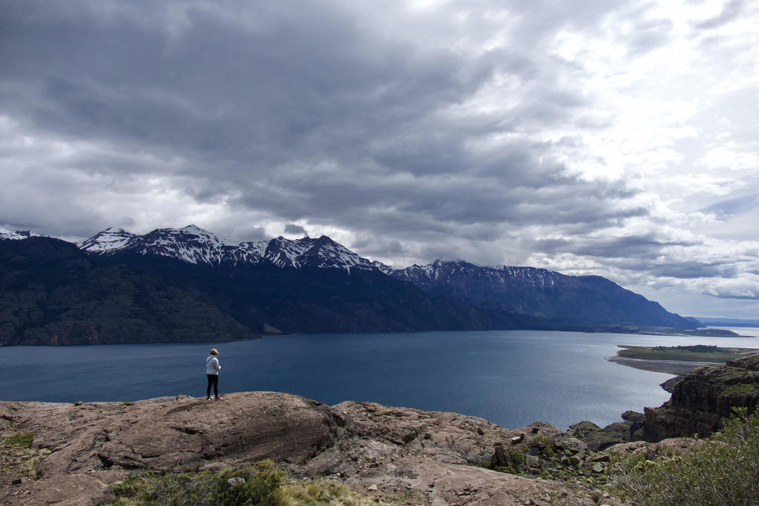 Standing on the southern shores of Lago General Carrera