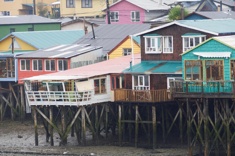 Palofito houses on the estuary in Castro, Chiloé