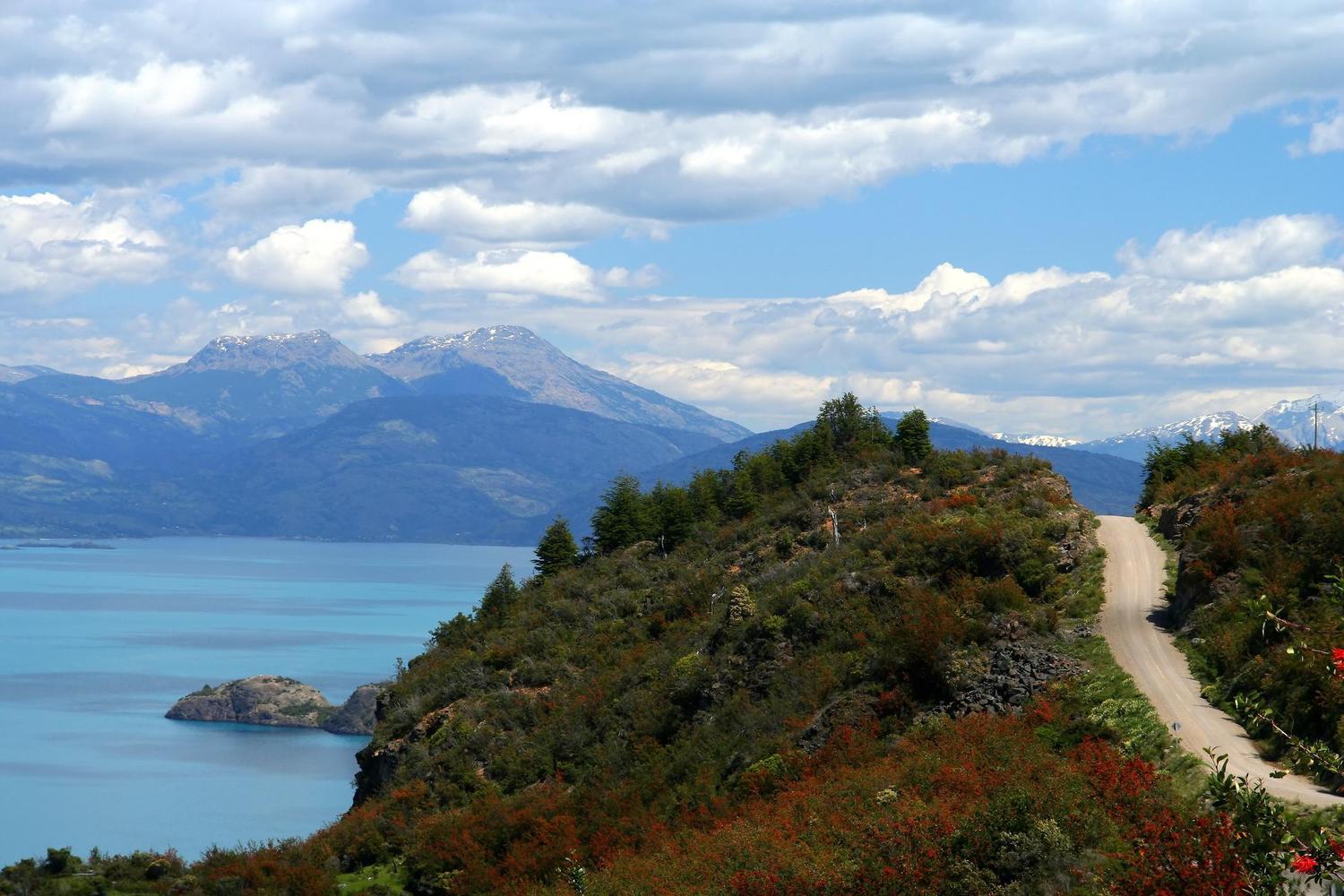 The Carretera Austral passing Lago General Carrera, Chile