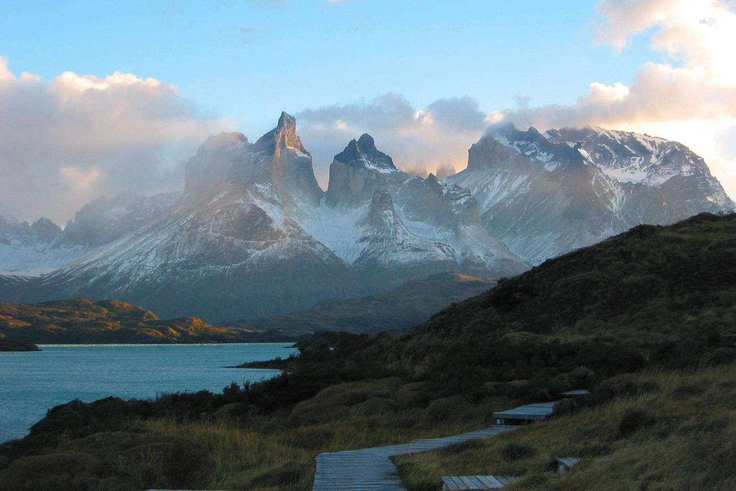 Sunrise over the Paine mountains in Chilean Patagonia