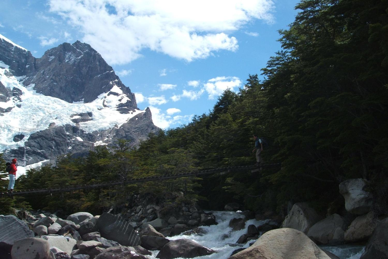 Crossing the hanging bridges of the W hike in Torres del Paine